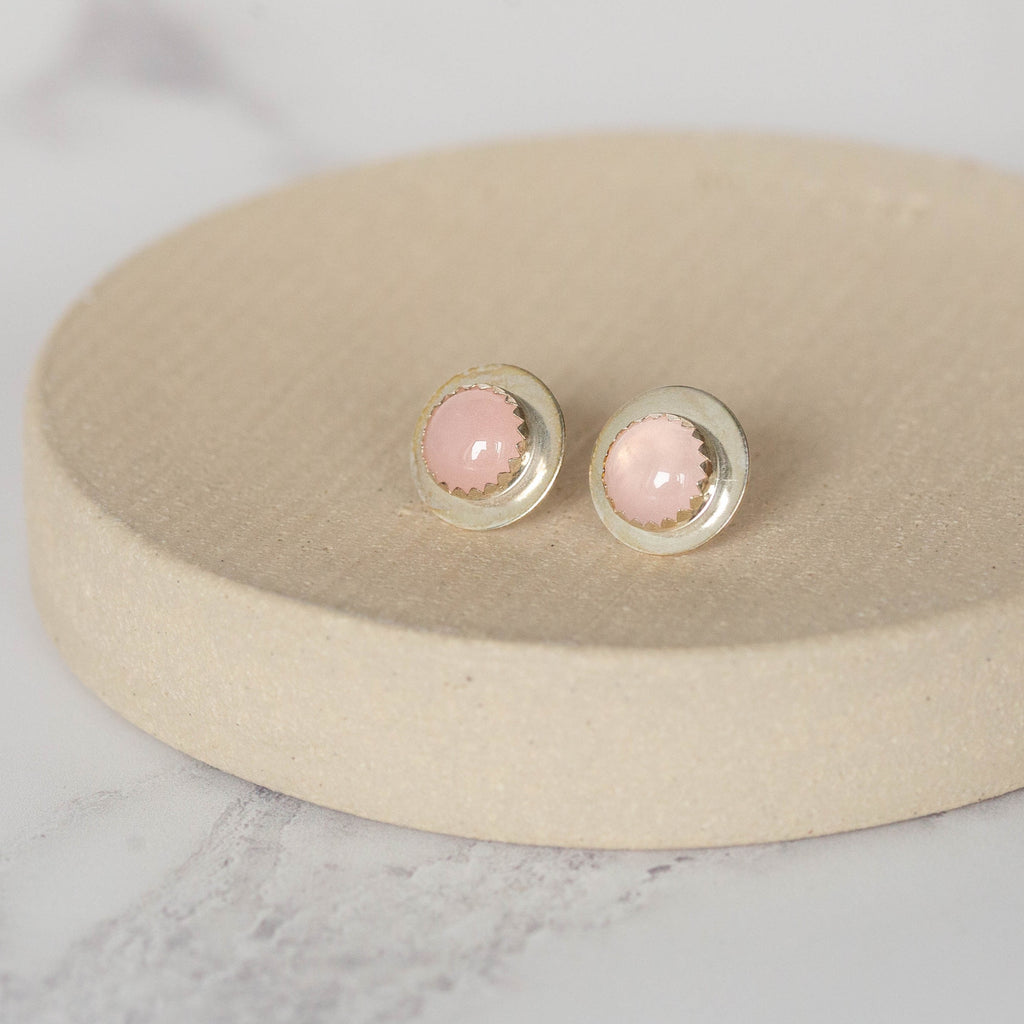 Sterling Silver Large Disc Studs with Semi Precious Stones