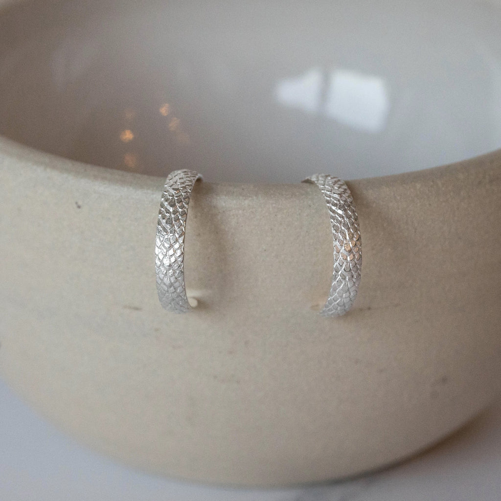 Sterling Silver Animal Print Hoop Earring
