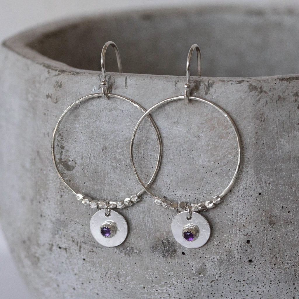 Sterling Silver and Birthstone Boho Hoop Earrings