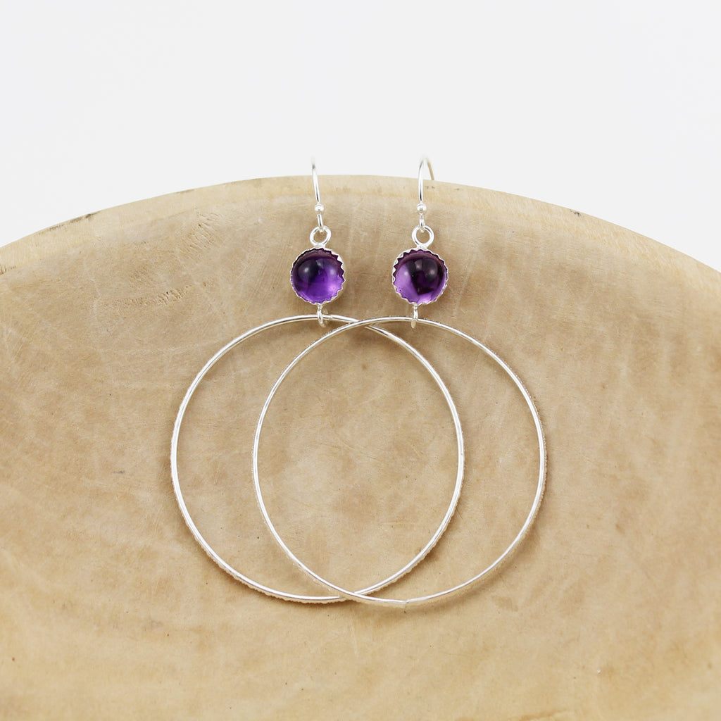 Sterling silver with semi precious stones Amethyst hoop earrings, handmade by Lucy Kemp Jewellery