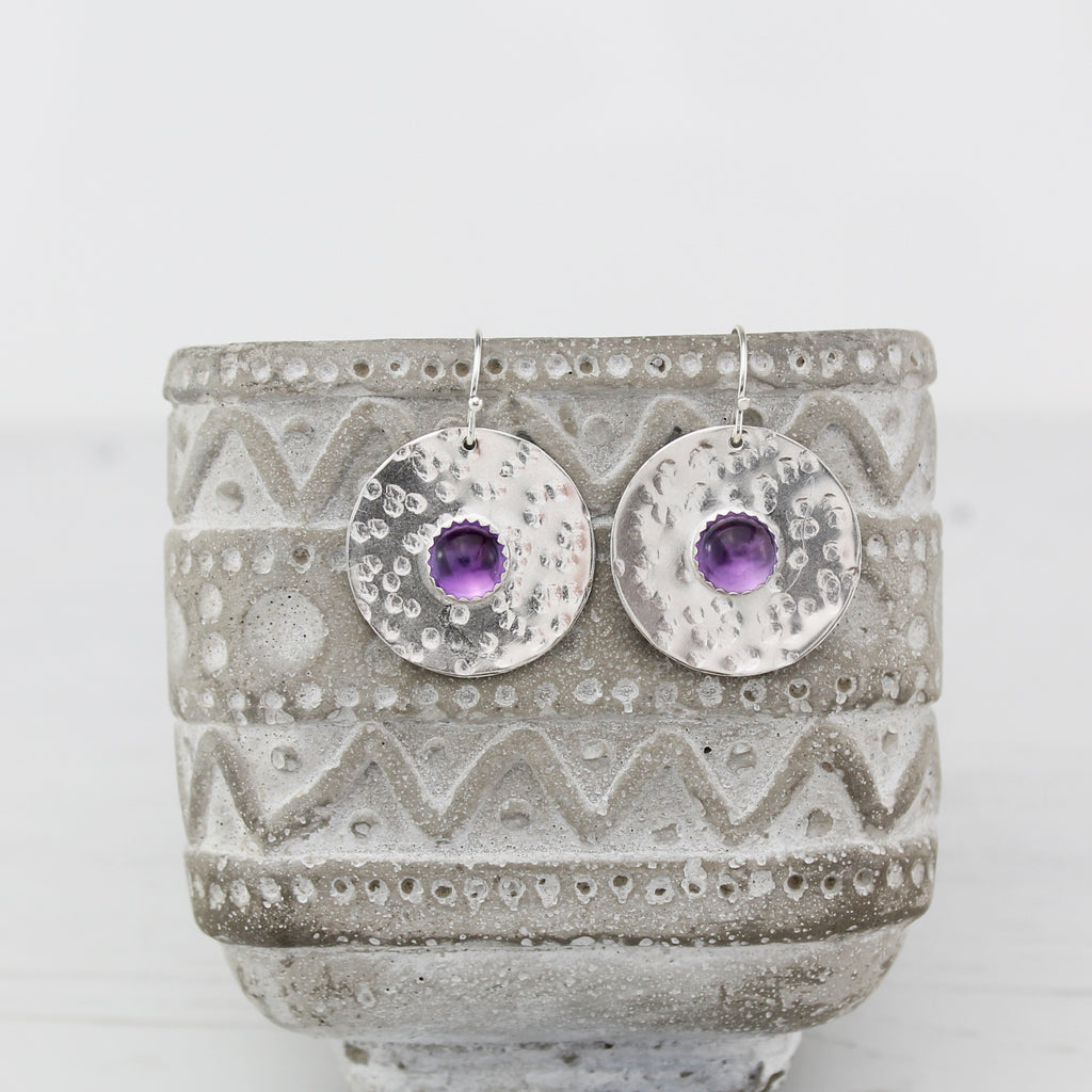 Sterling silver statement shield earrings with semi precious stones Amethyst handmade by Lucy Kemp Jewellery