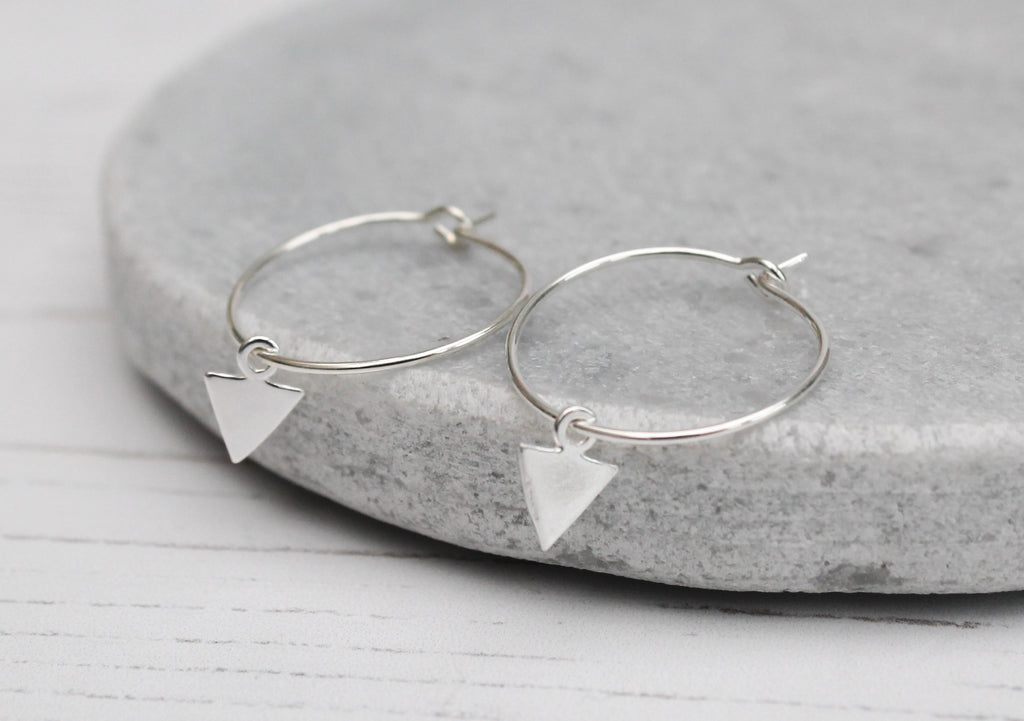 Silver Arrow charm Hoops
