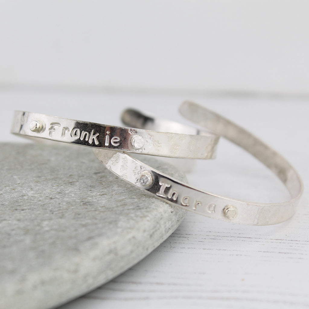 sterling silver personalised boys christening bangle handmade by Lucy Kemp Jewellery