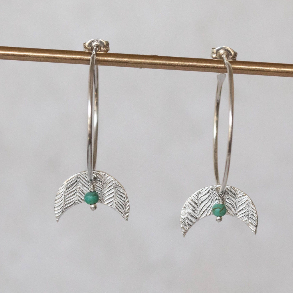 Sterling Silver Moon and Turquoise Hoop Earring