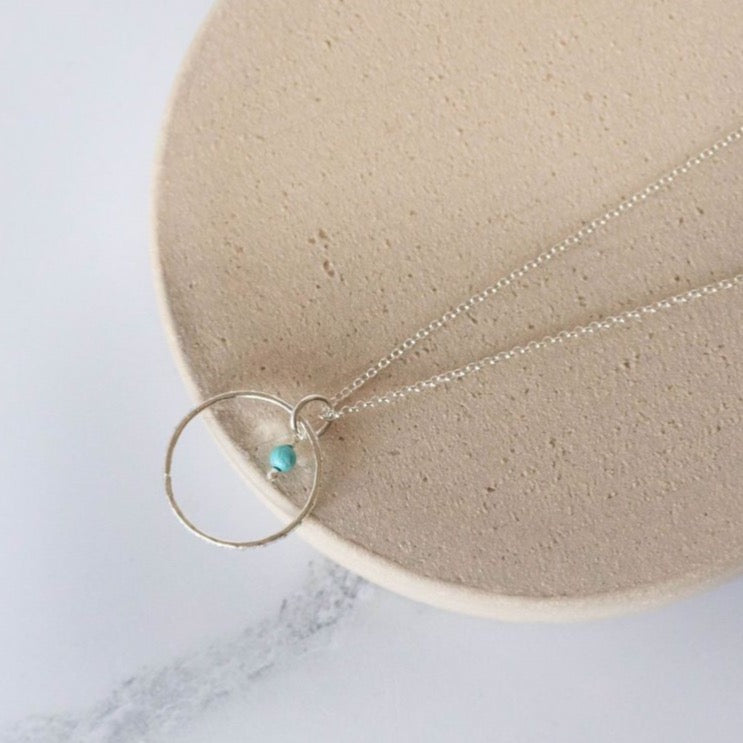 Sterling Silver Celestial Hoop Pendant with Turquoise