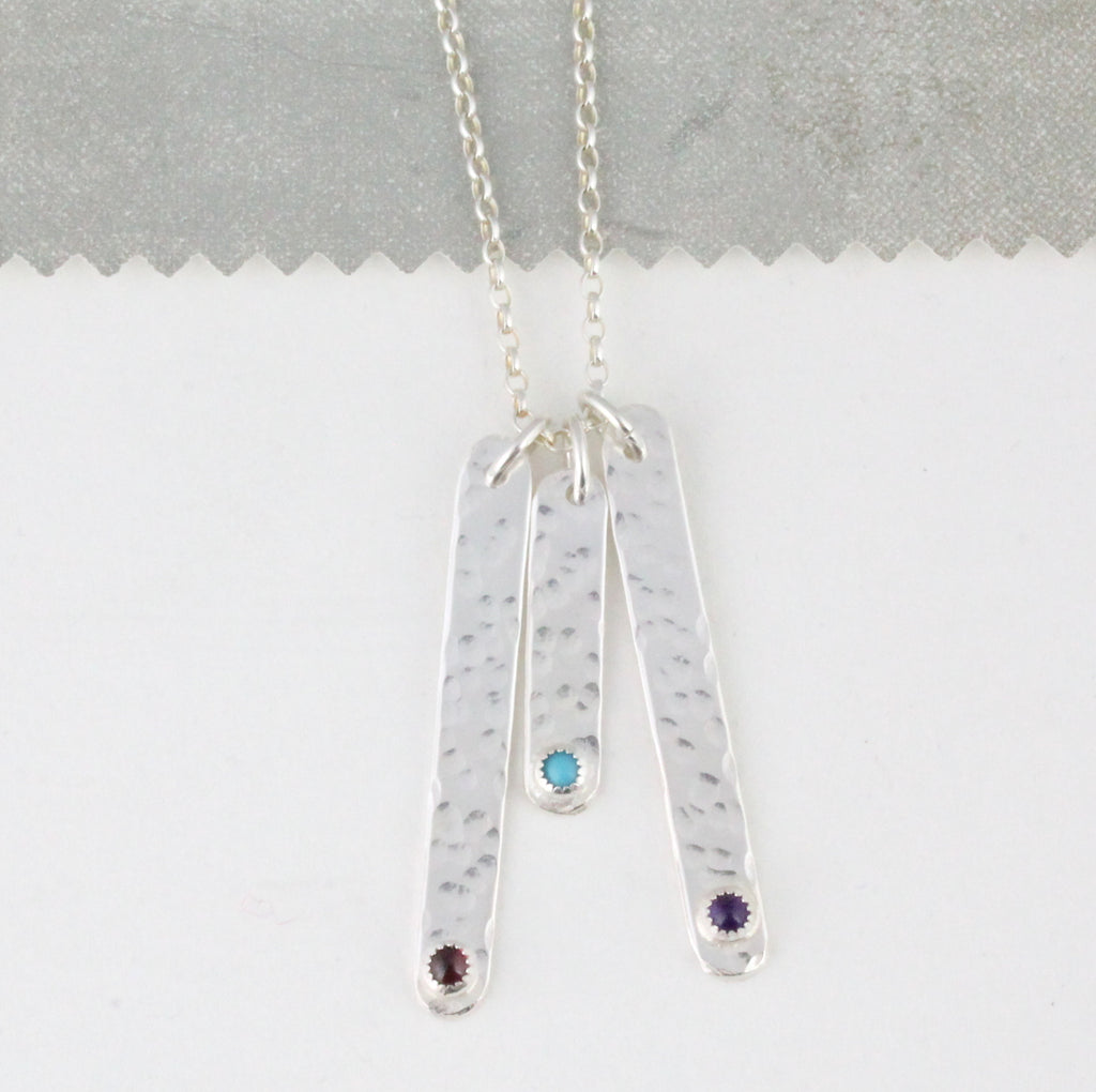 sterling silver drop bar birthstone collection by Lucy Kemp Jewellery