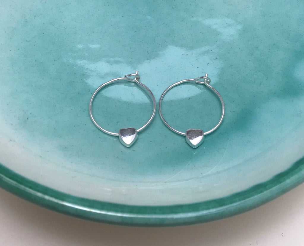 Sterling Silver Heart Charm Hoops