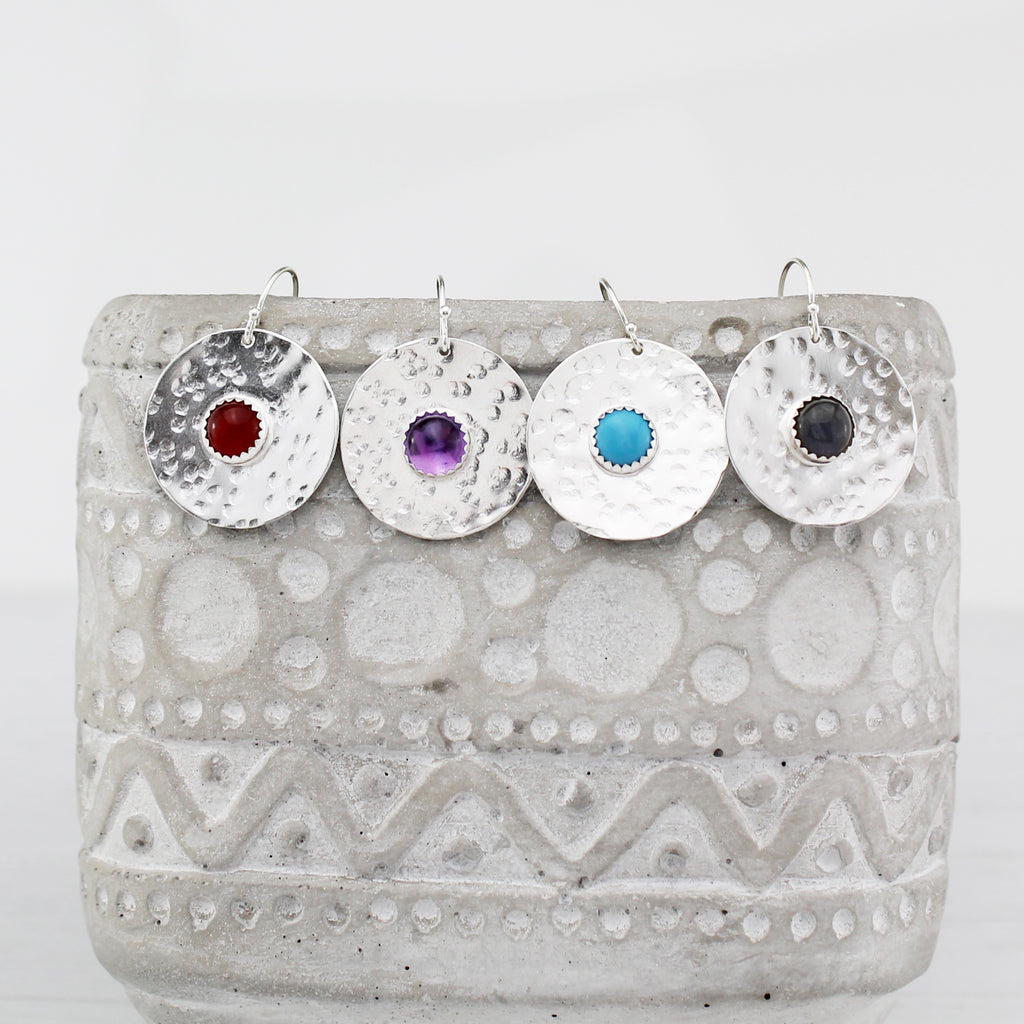 Sterling silver statement shield earrings with semi precious stones handmade by Lucy Kemp Jewellery