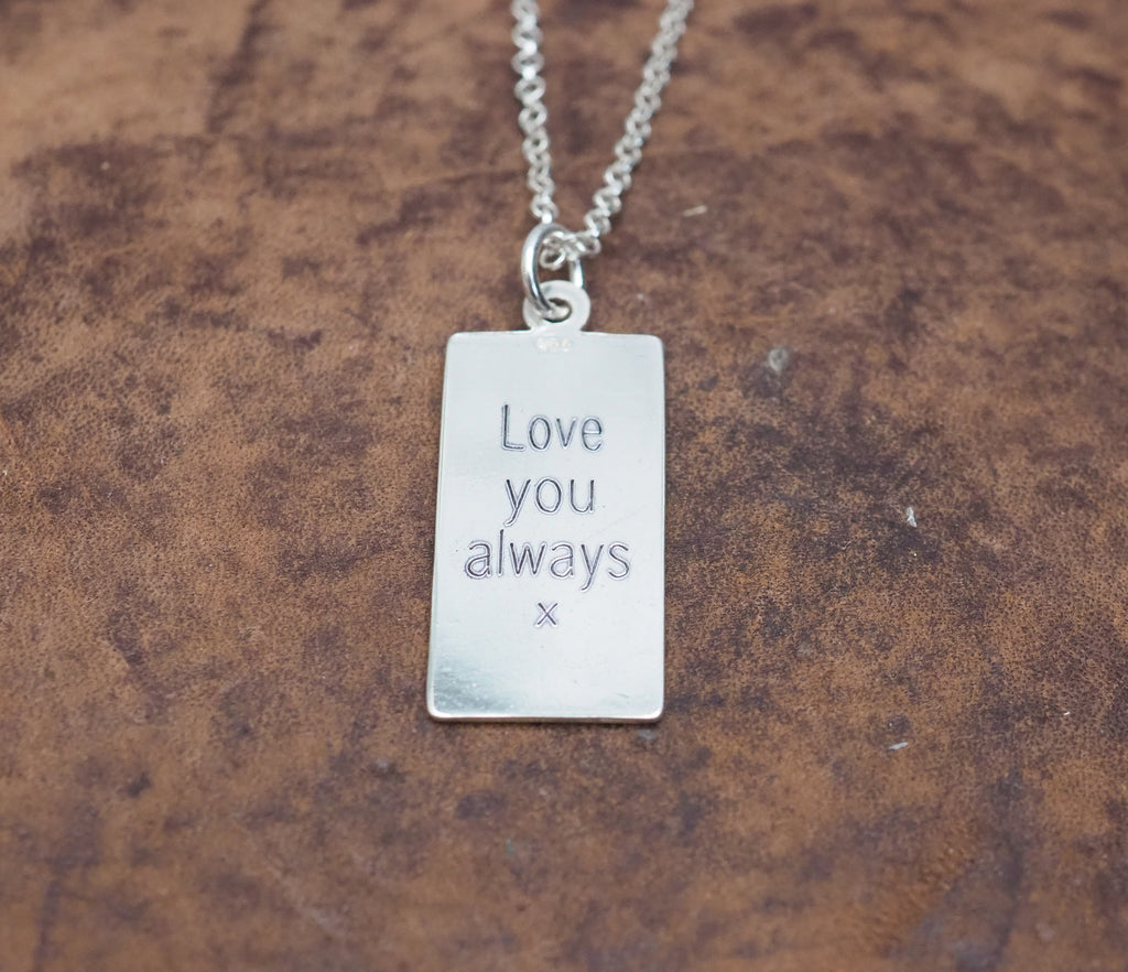 sterling silver rectangle St Christophers Engraved Pendant handmade by Lucy Kemp Jewellery