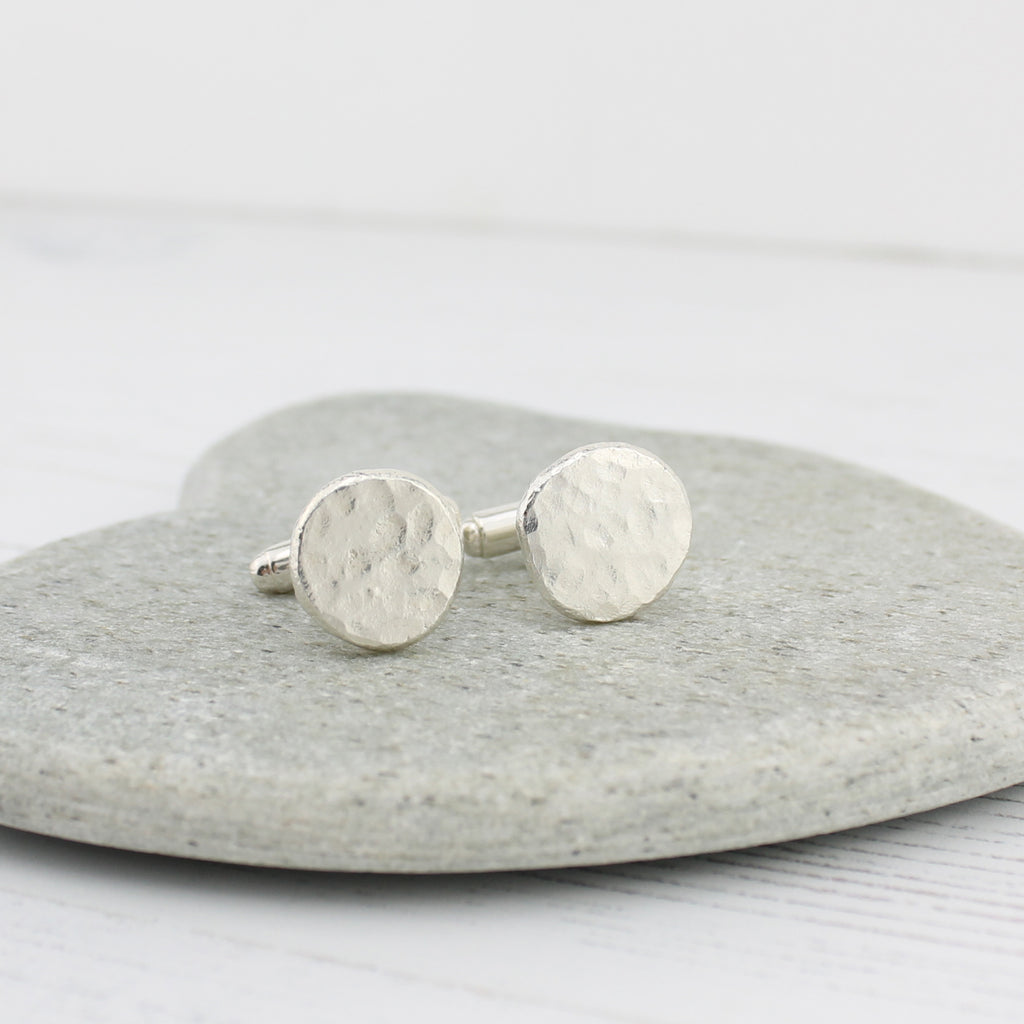 recycled sterling silver chunky nugget cufflinks handmade by Lucy Kemp Jewellery