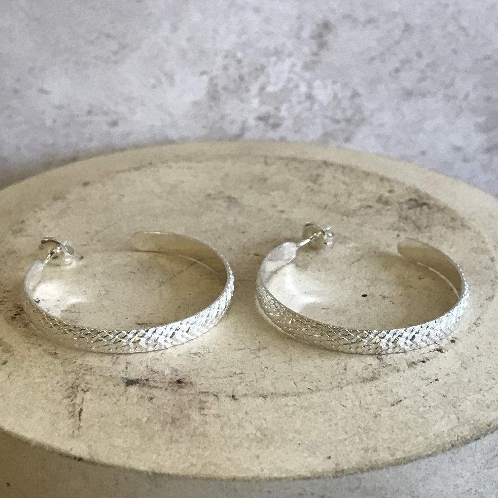 Recycled sterling silver large snake skin everyday hoops handmade by Lucy Kemp Jewellery