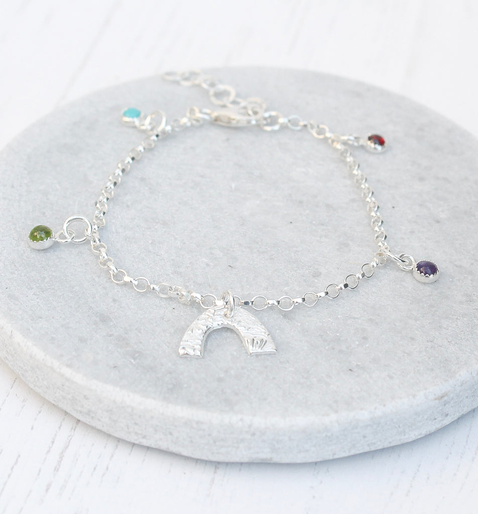 sterling silver rainbow charm bracelet with real semi precious stones handmade by Lucy Kemp Jewellery