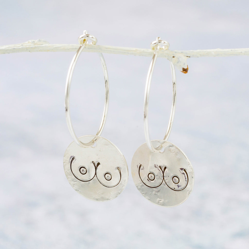Handmade Sterling Silver Lucy Kemp Jewellery boob charm Hoops.