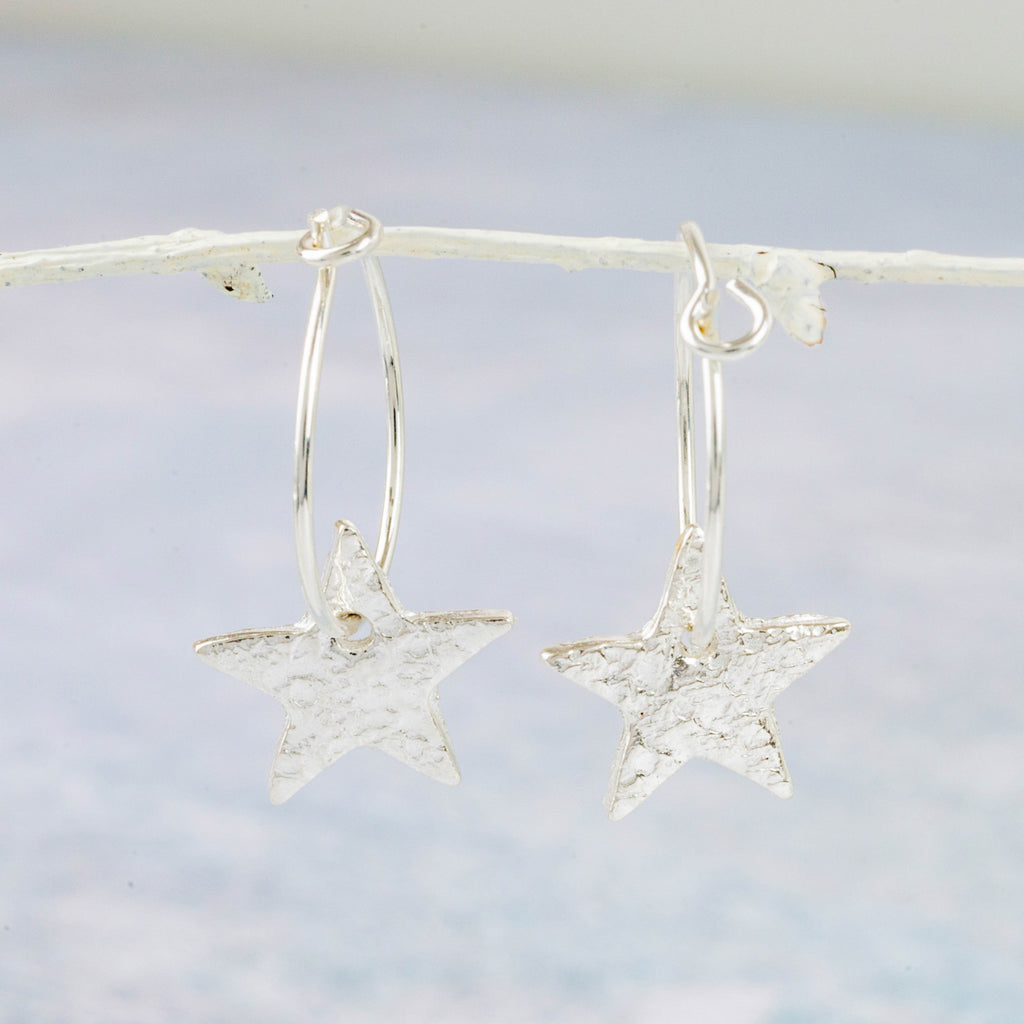 Handmade Lucy Kemp Jewellery Sterling Silver Text Star Charm Hoops