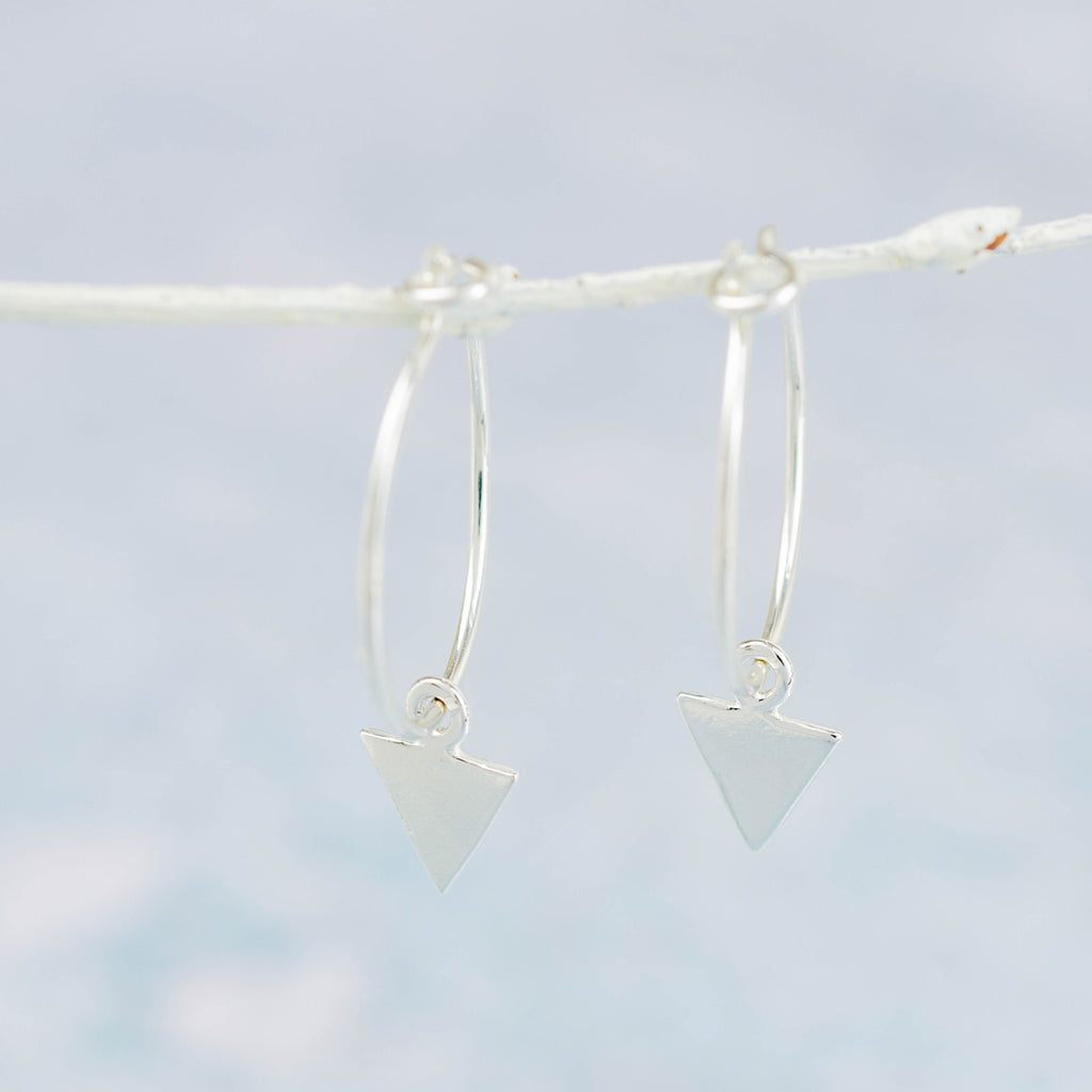 Handmade Sterling Silver Lucy Kemp Jewellery Arrow Charm Hoops