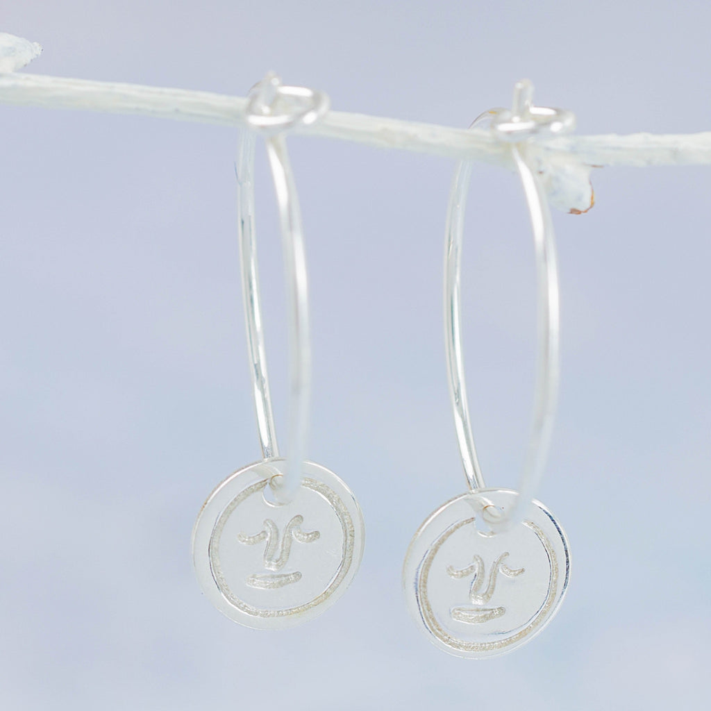 Handmade Sterling Silver Lucy Kemp Jewellery Circle face charm hoop
