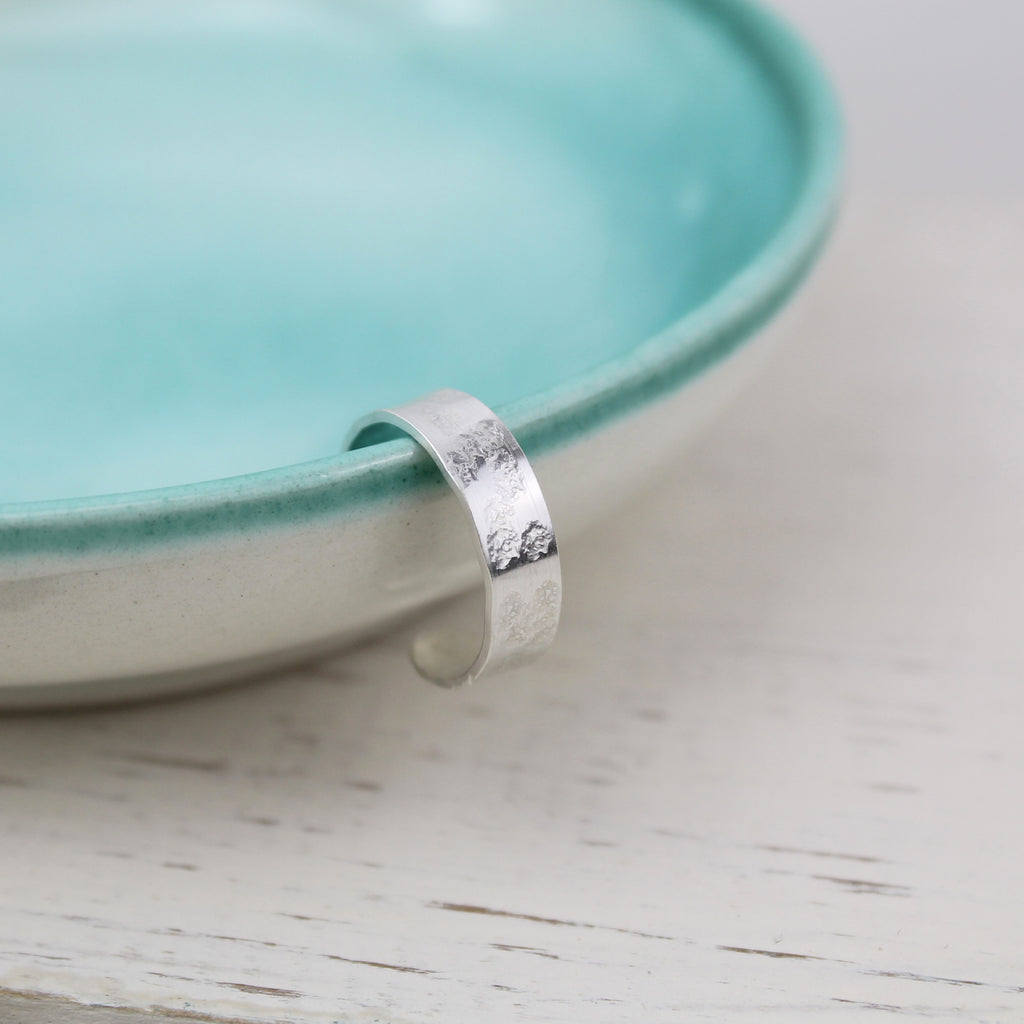 Sterling Silver toe ring with hammered texture, handmade by Lucy Kemp Jewellery