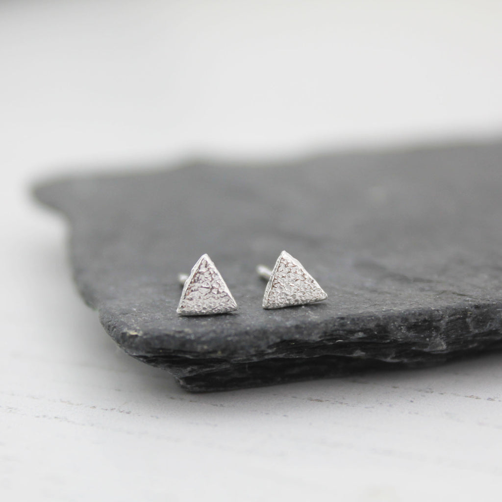 Silver Triangle Mini Studs