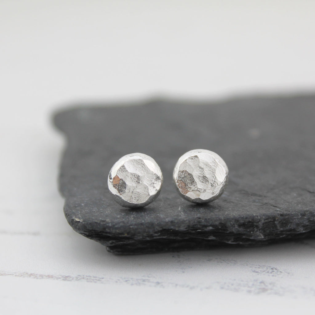 Recycled sterling silver medium nugget studs, handmade by Lucy Kemp Jewellery