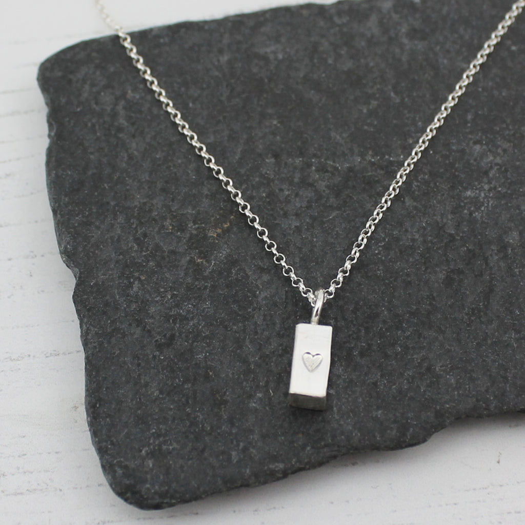 Sterling Silver Small Ingot Pendant by Lucy Kemp Jewellery