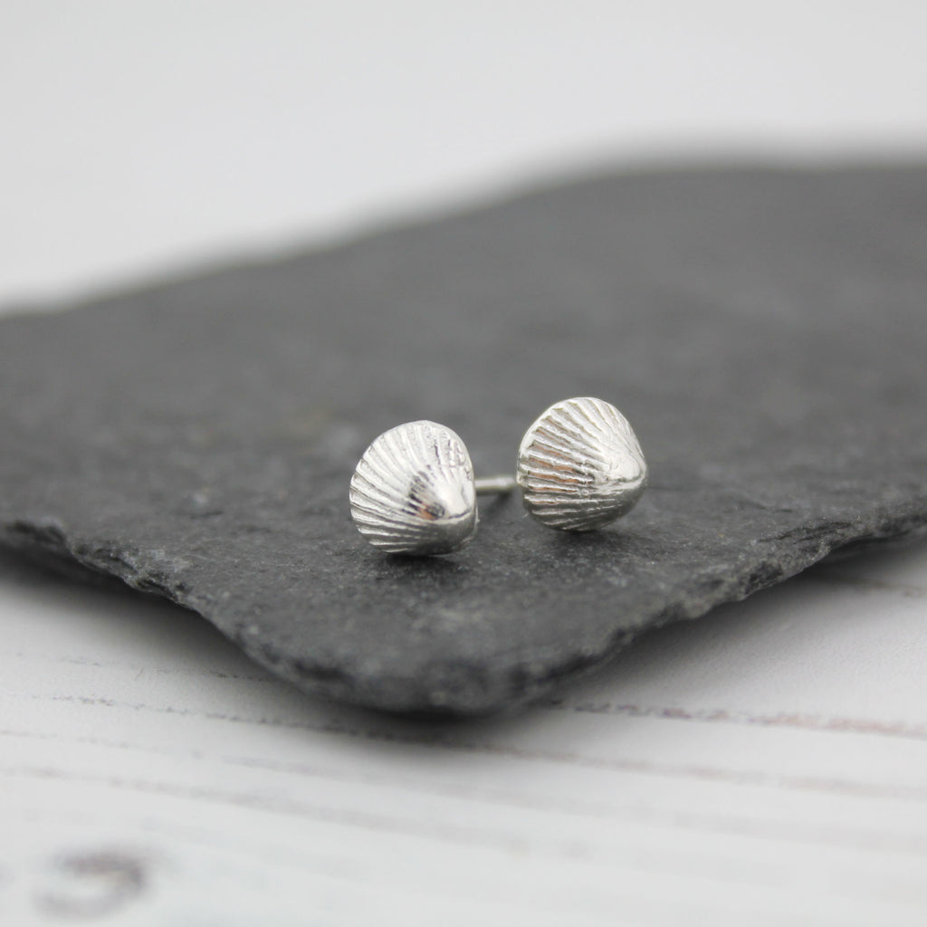 Silver Cornish Shell Studs
