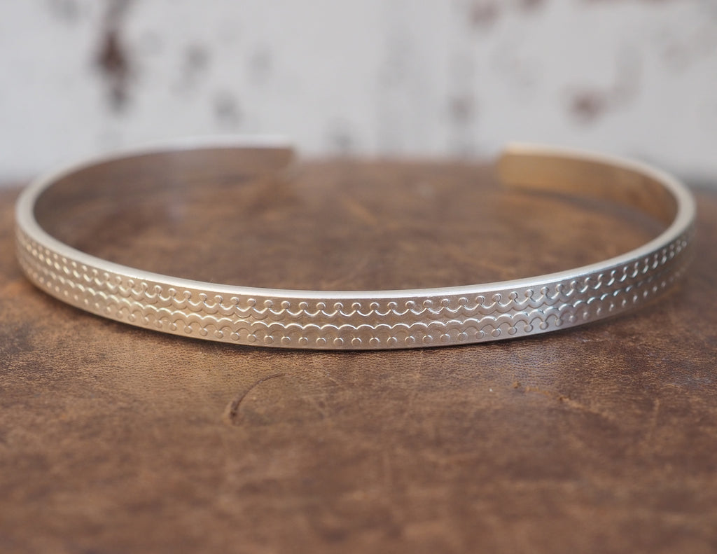 sterling silver engraved textured men's cuff handmade by Lucy Kemp Jewellery
