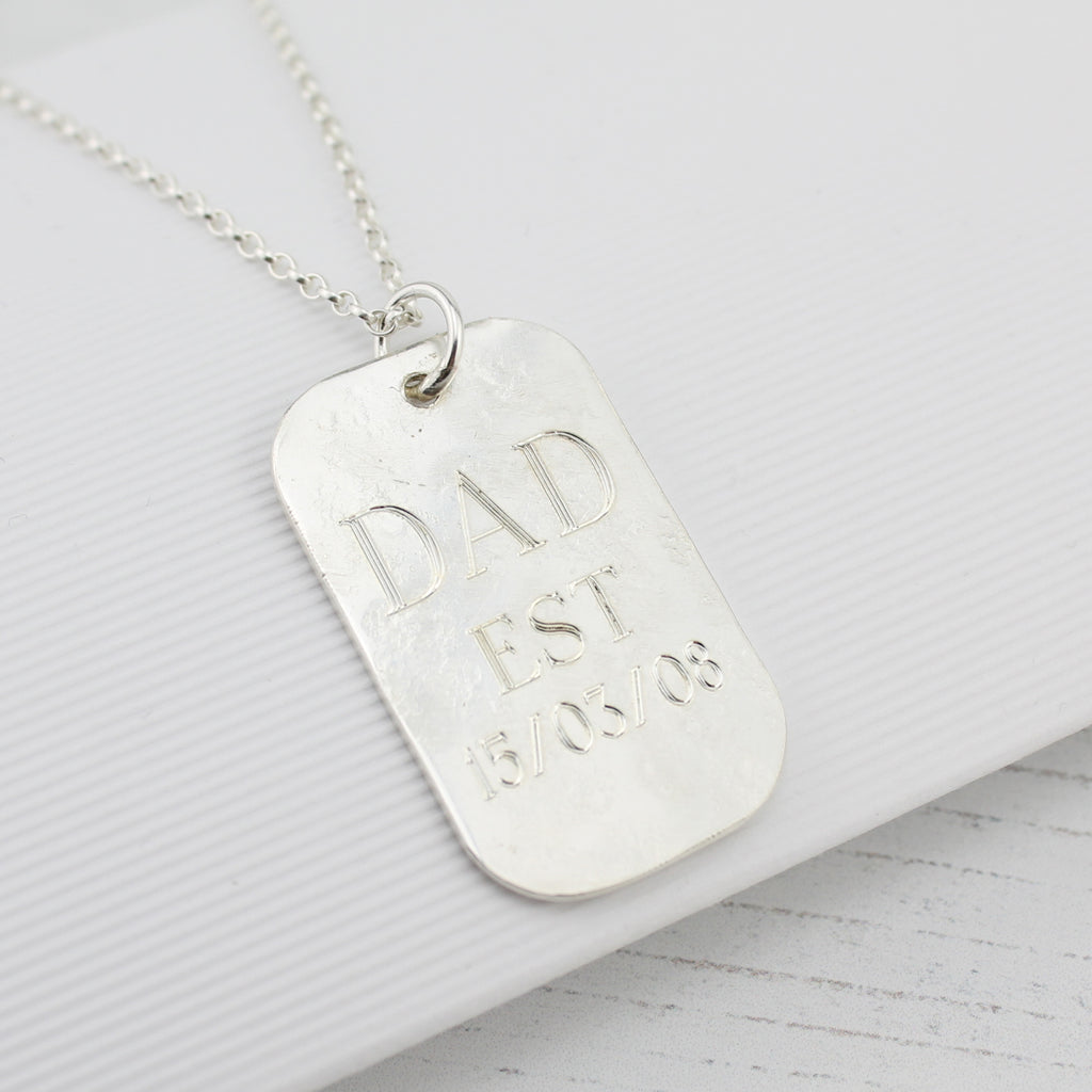 Sterling silver personalised Men's Dog Tag Pendant handmade by Lucy Kemp Jewellery