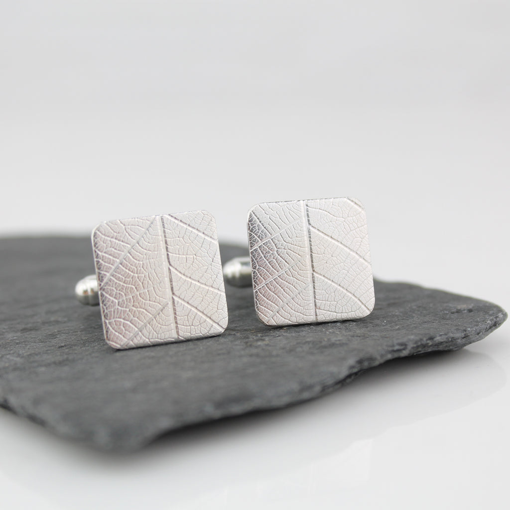 Silver Leaf Textured Cufflinks