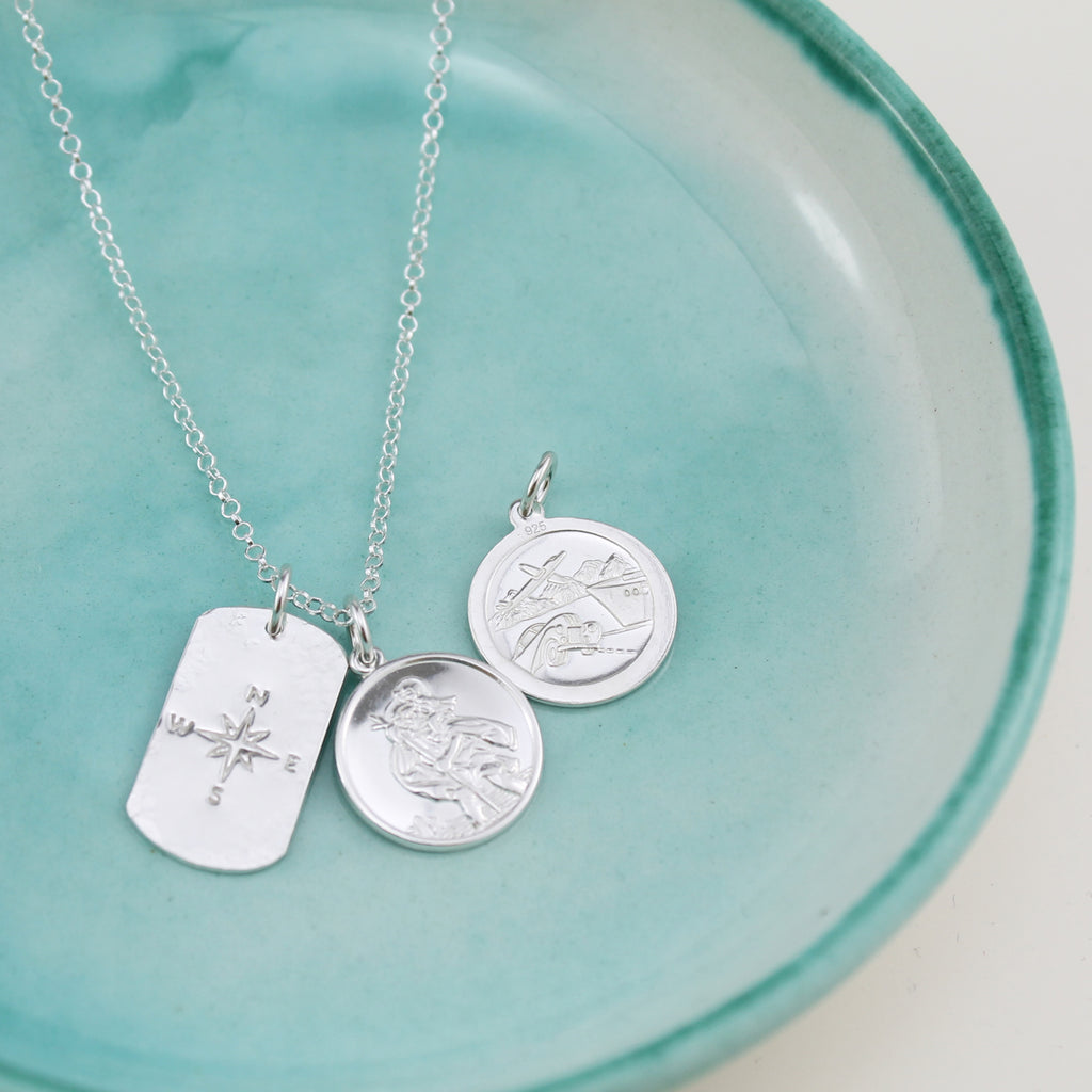 sterling silver St Christopher and compass pendant handmade by Lucy Kemp Jewellery