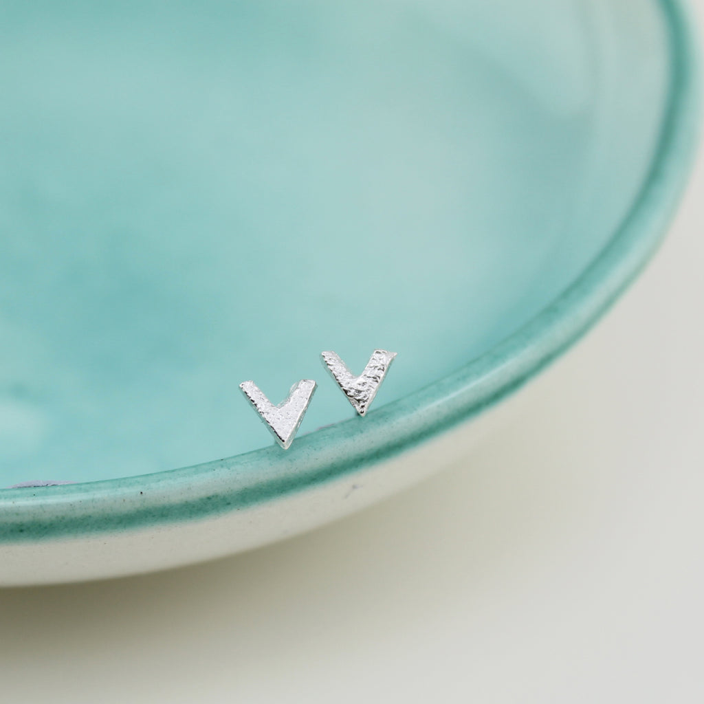 Sterling Silver Mini Stud Collection, Sterling Silver Mini Chevron Studs, Handmade by Lucy Kemp Jewellery