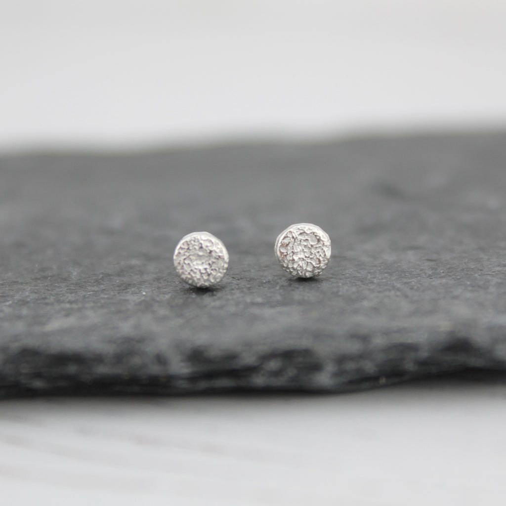 Sterling Silver Mini Studs Circles, Handmade by Lucy Kemp Jewellery, Delicate Textured Mini Silver Studs
