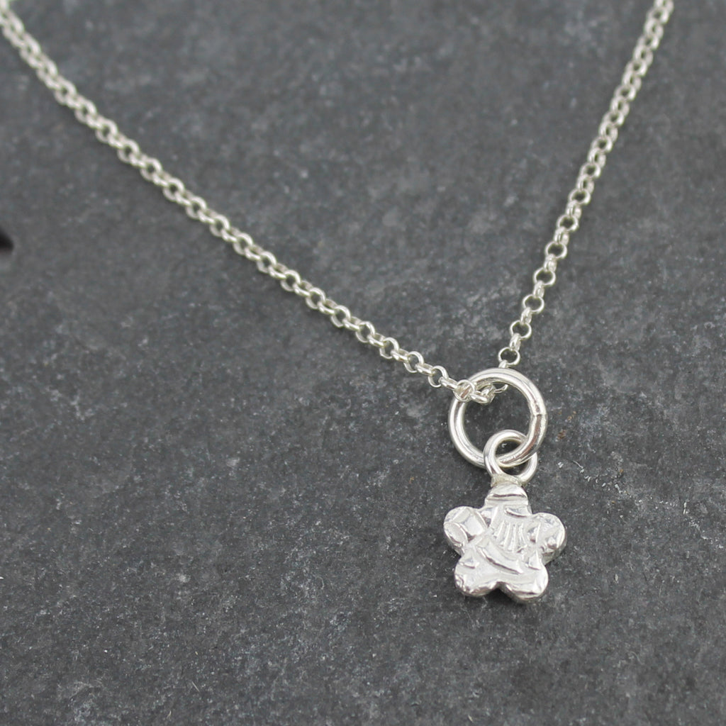 sterling silver mini flower personalised pendant