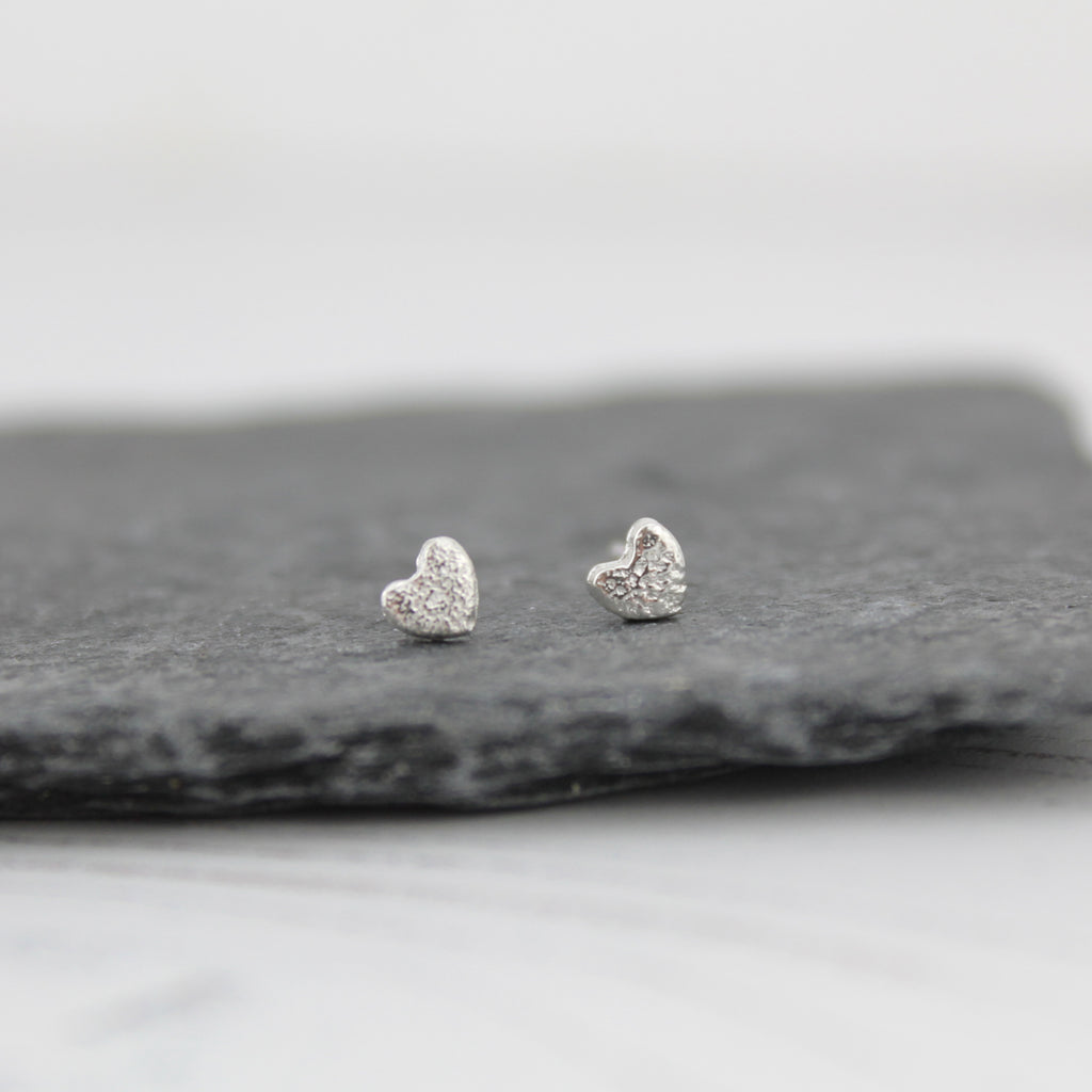 Sterling Silver Mini Hearts Studs handmade by Lucy Kemp Jewellery