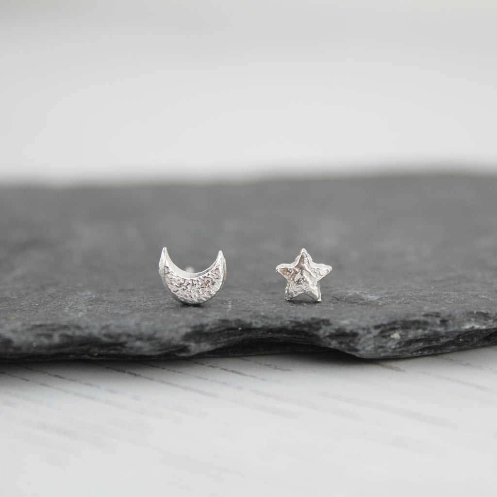 Sterling Silver Mini Stud Mismatch Star and Moon