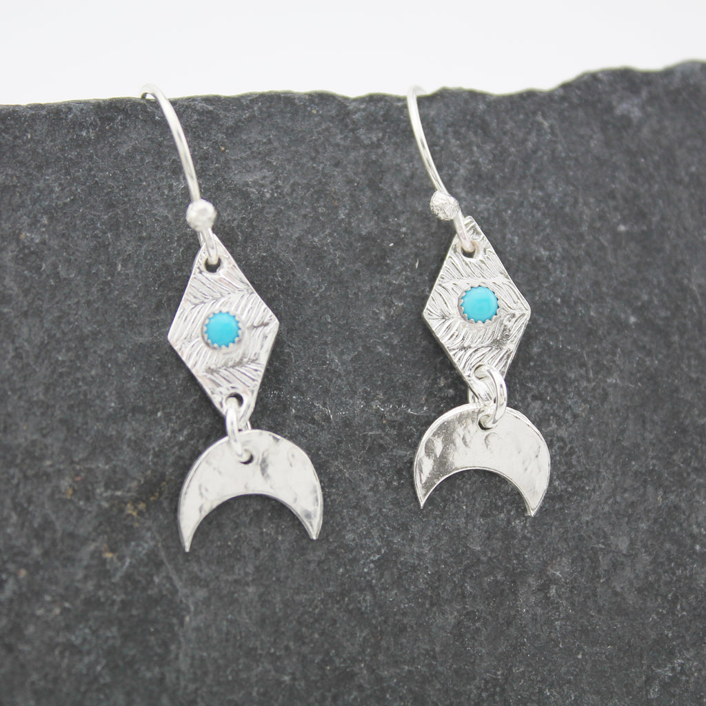 sterling silver moon and textured diamond earrings with real semi precious turquoise stones, handmade by Lucy Kemp Jewllery