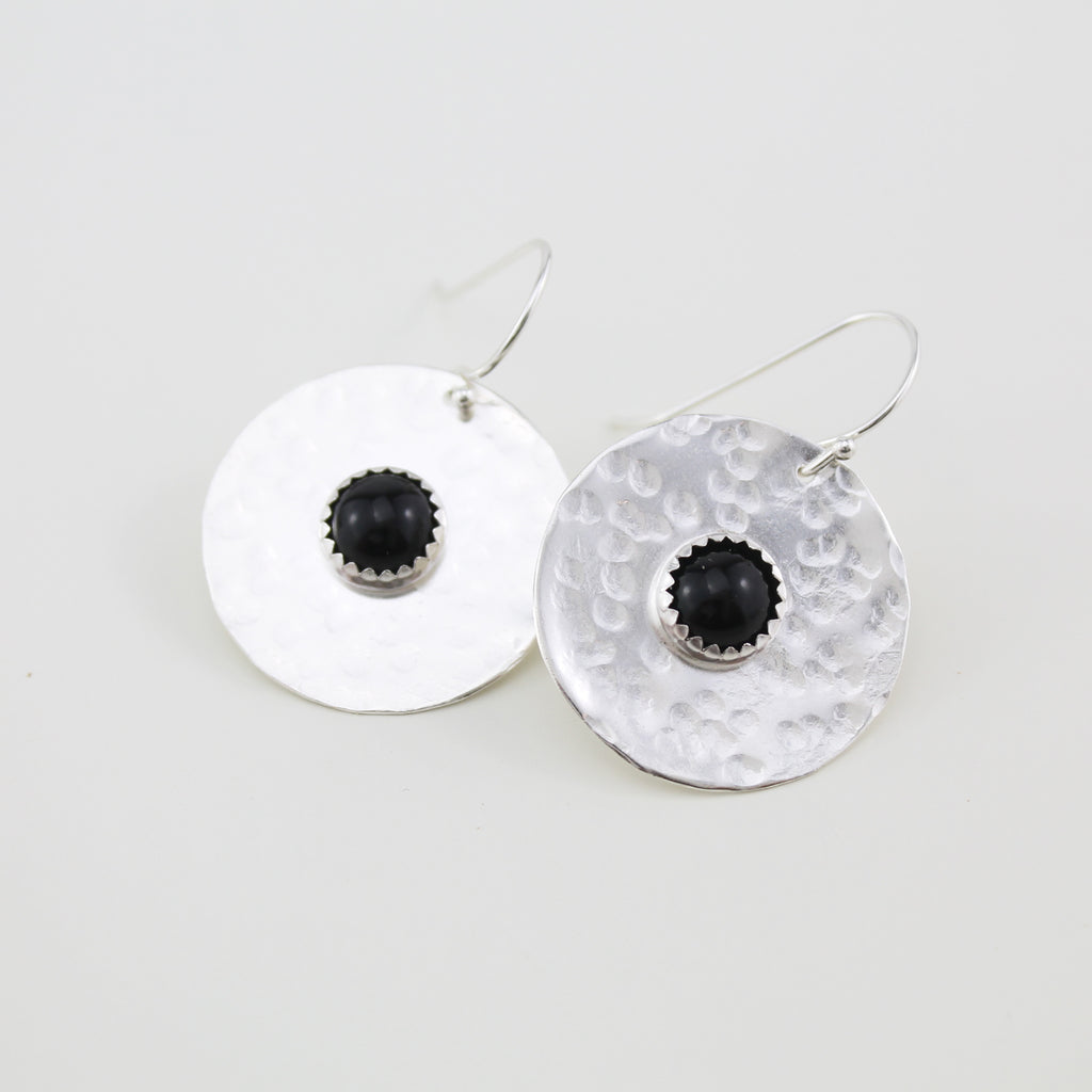 Sterling silver statement shield earrings with semi precious stones Onyx handmade by Lucy Kemp Jewellery