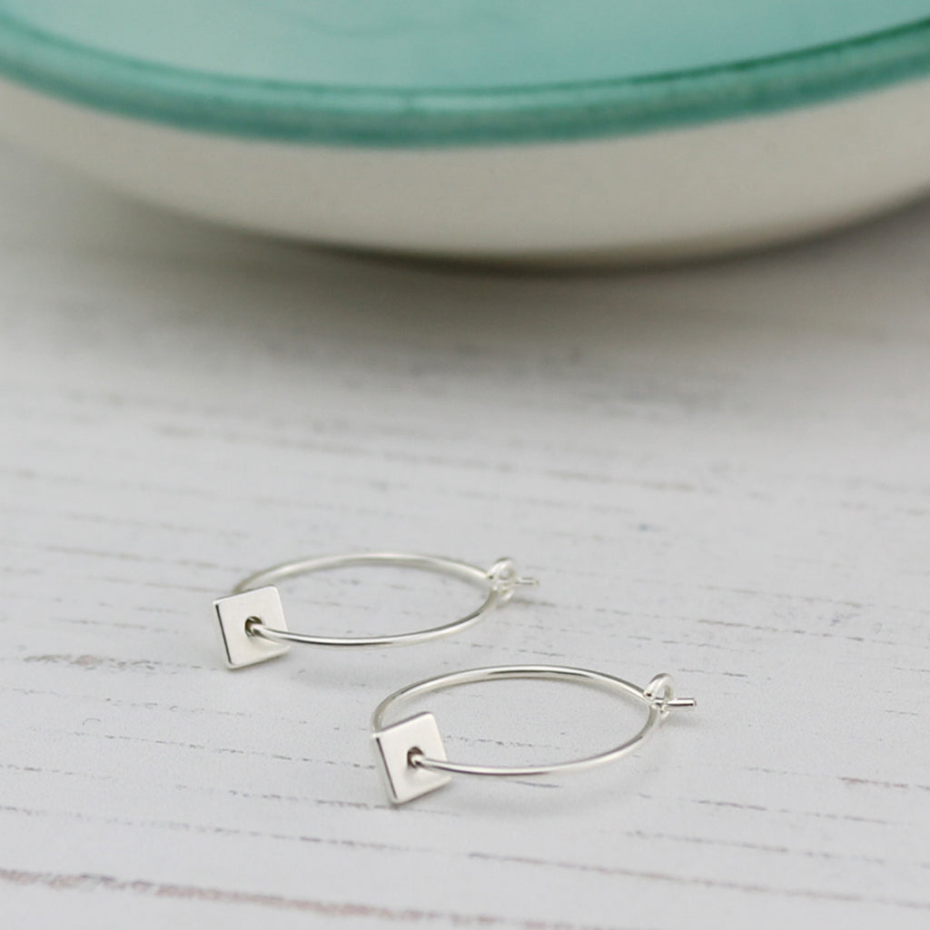 Silver Square charm Hoops