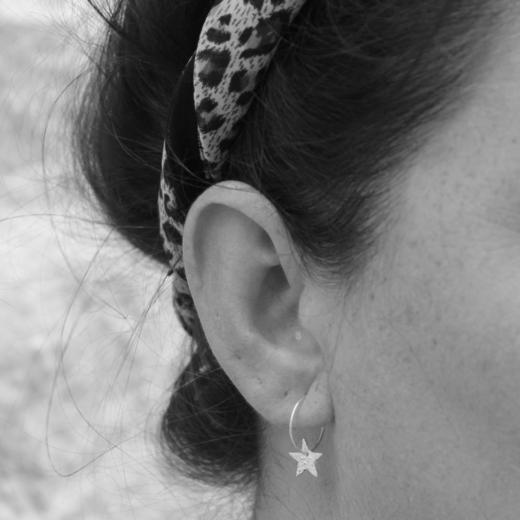 Silver Hammered Textured Star Charm Hoops