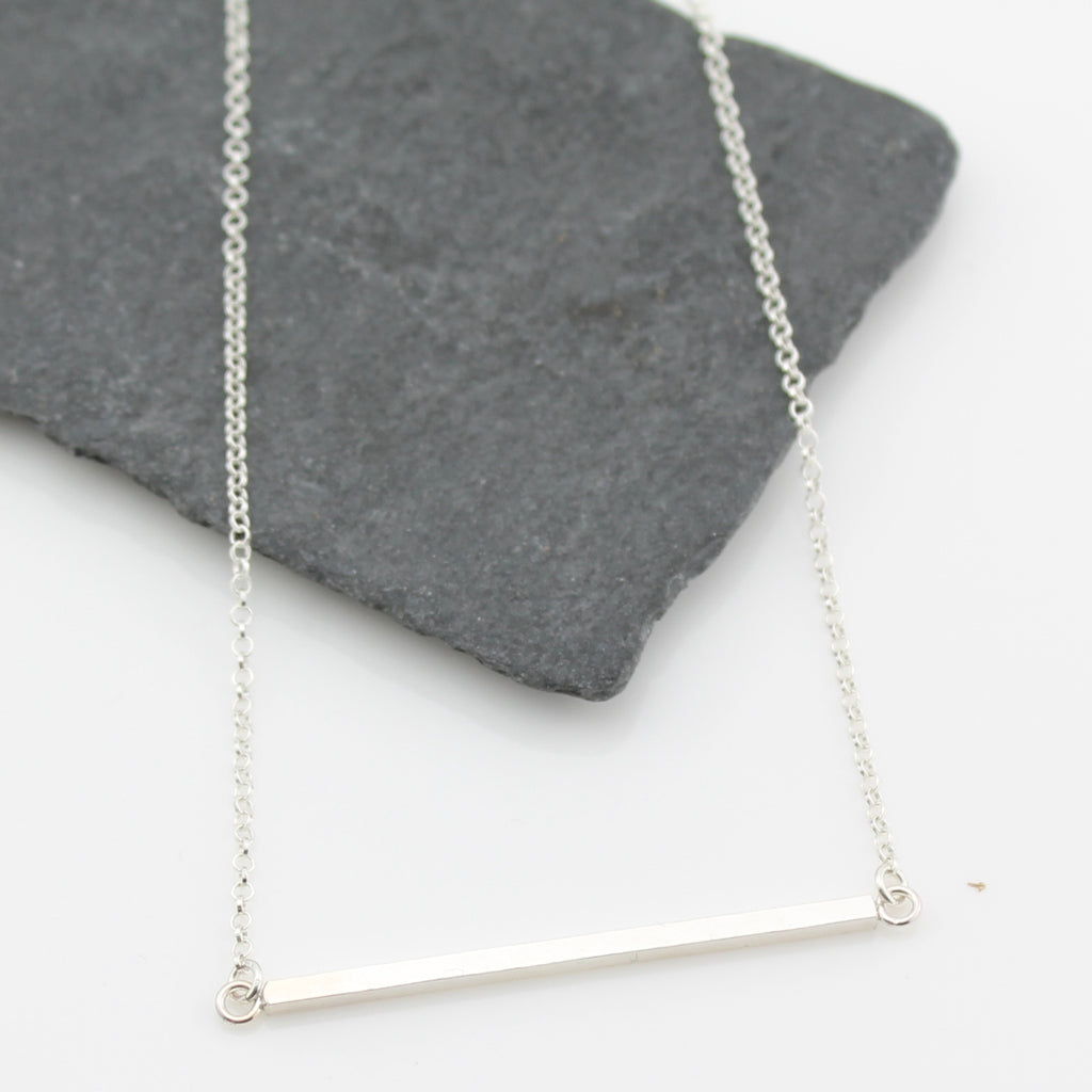 Silver Long Bar Necklace