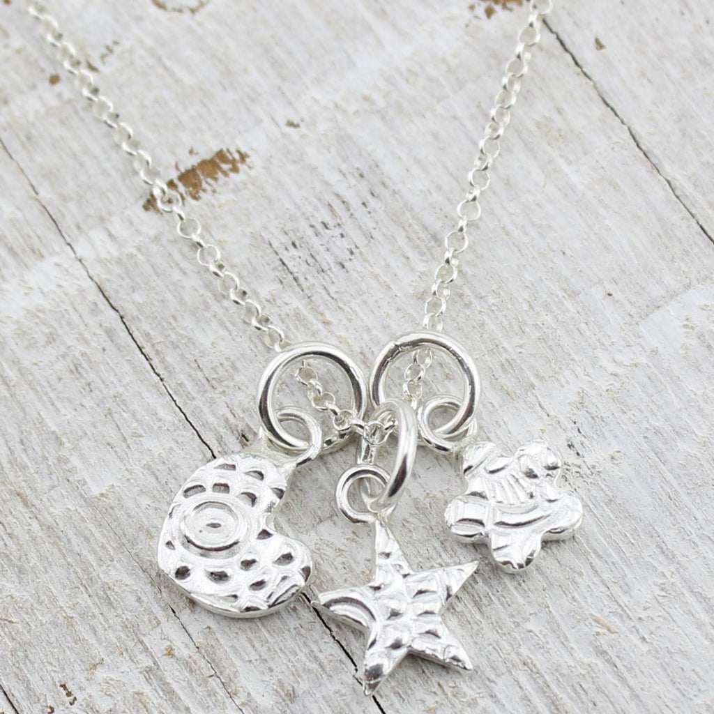 Personalised Three Charm Silver Necklace