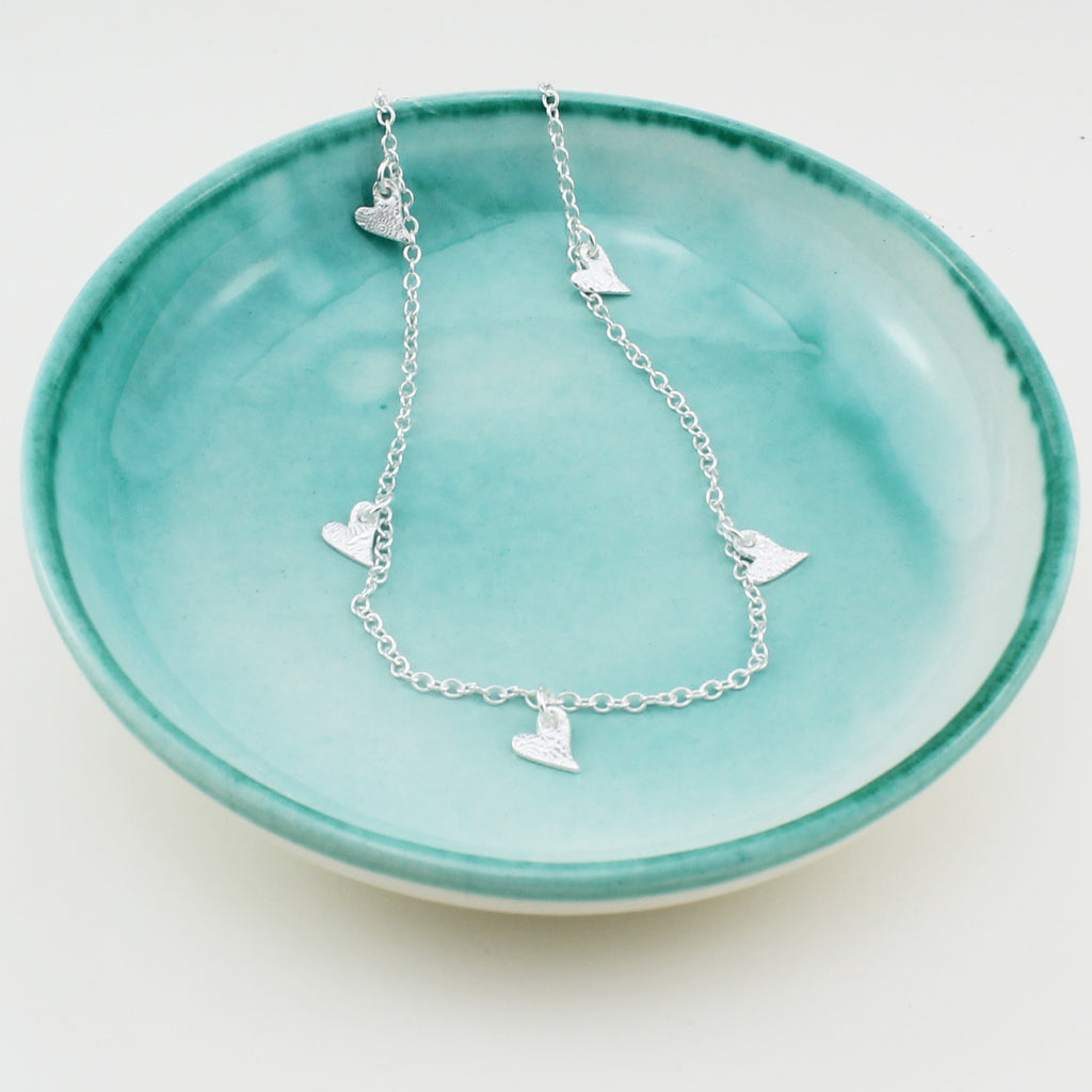 sterling silver short textured tilted heart charm necklace by Lucy Kemp Jewellery