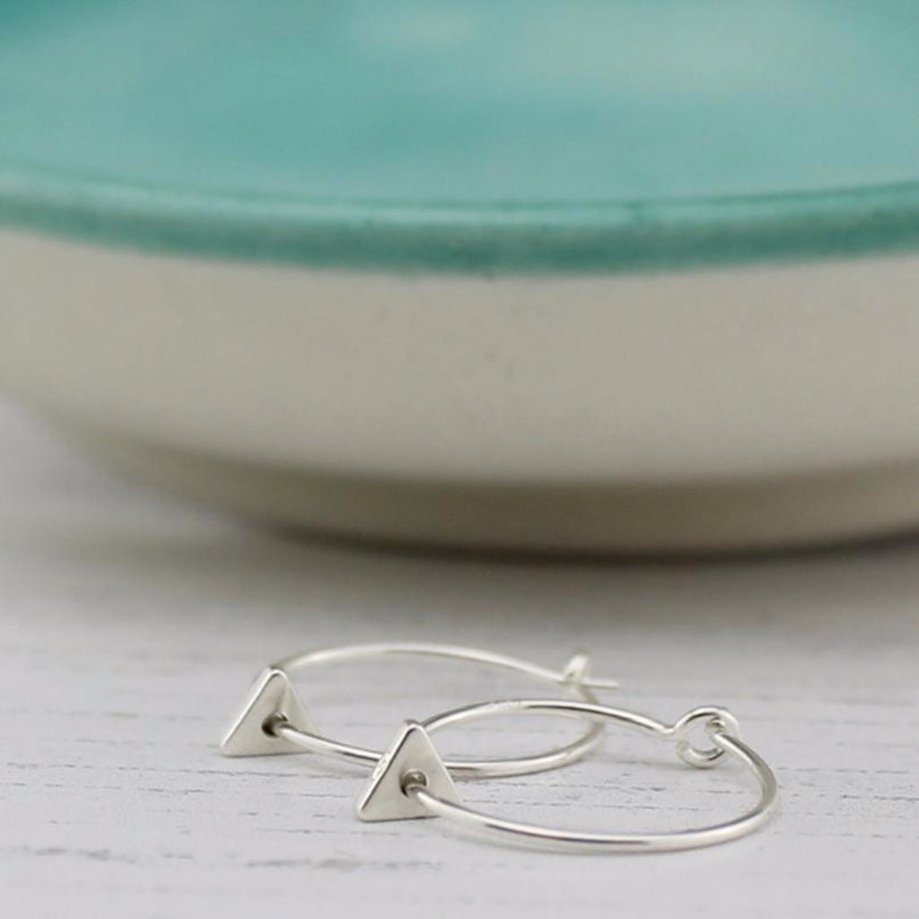 Silver Triangle Charm Hoop