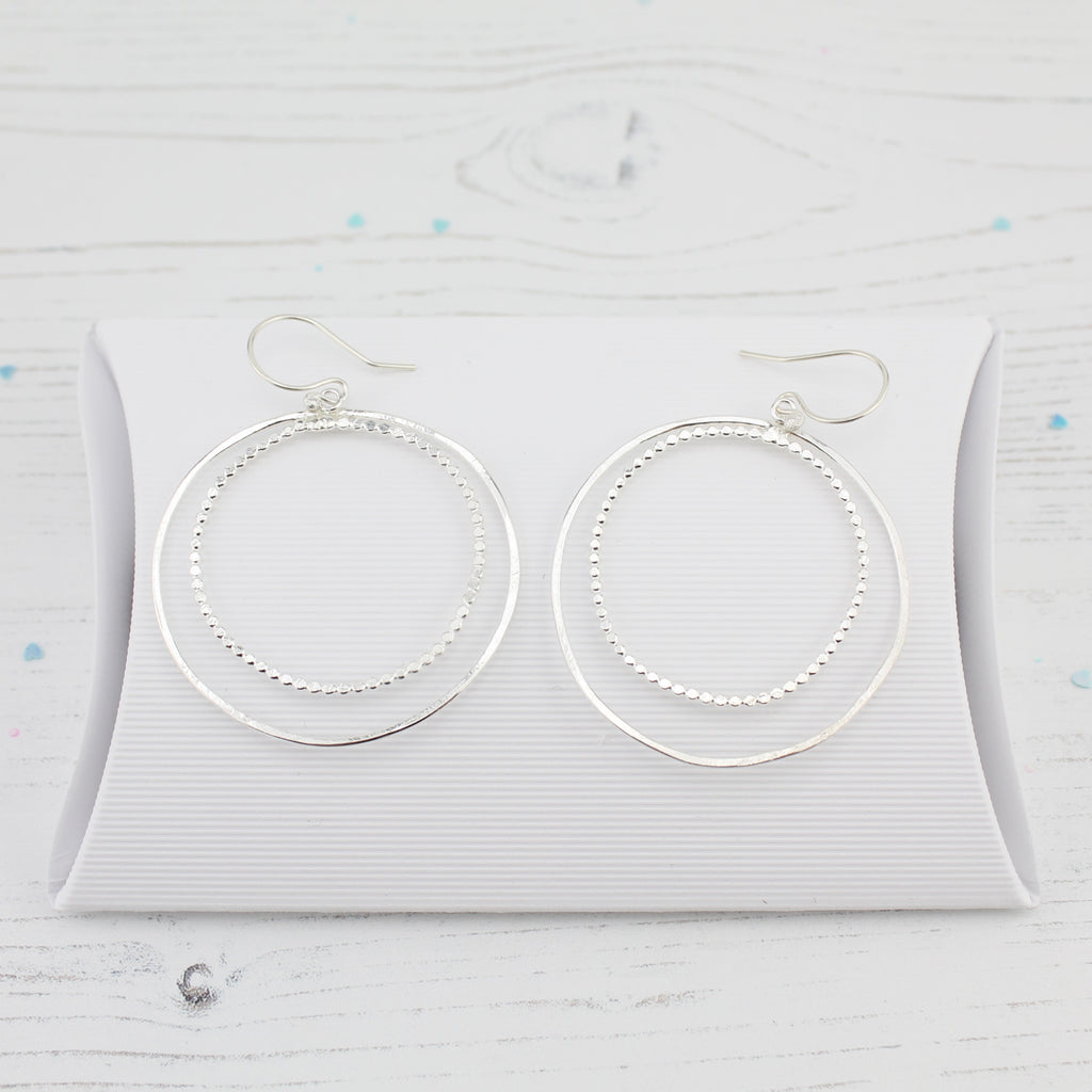 Silver Two Circle Hoop Earrings