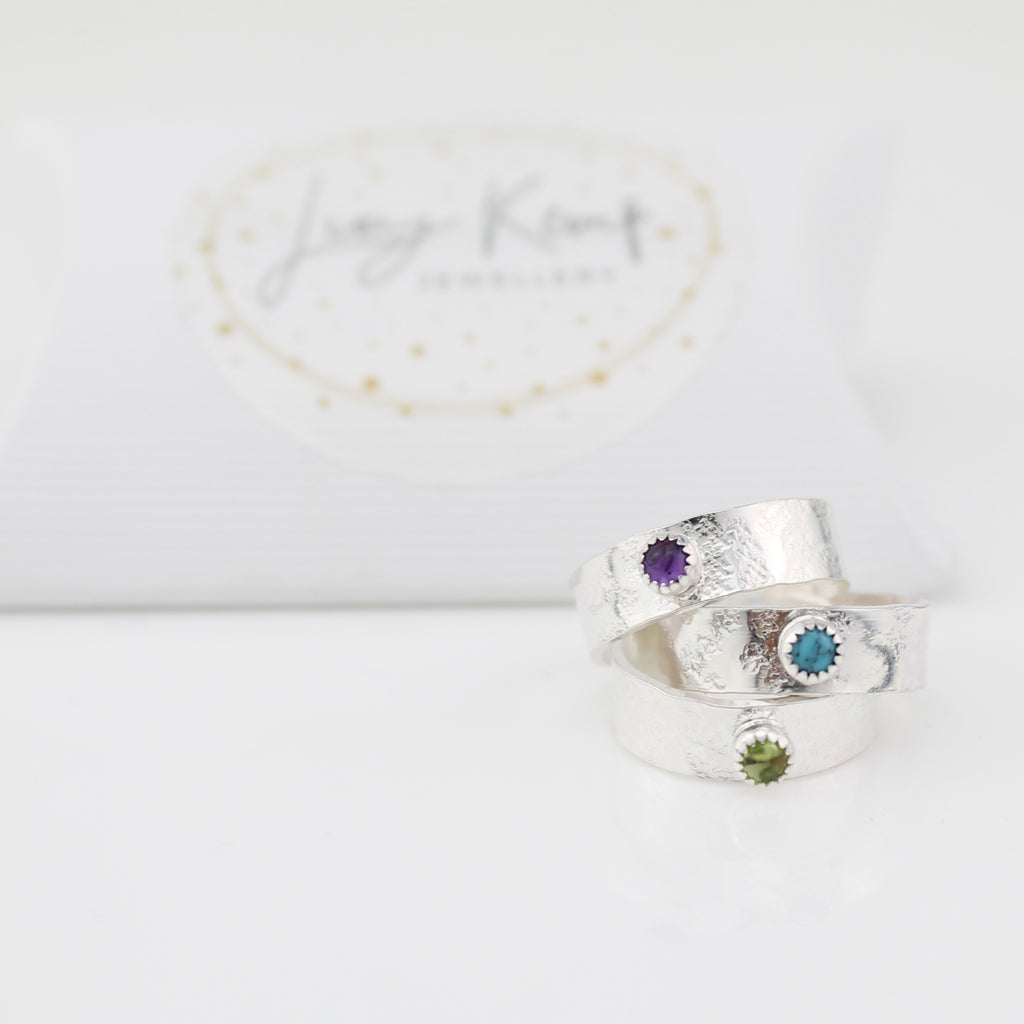 Sterling Silver Toe Rings with Semi Precious Birthstones, handmade by Lucy Kemp Jewellery