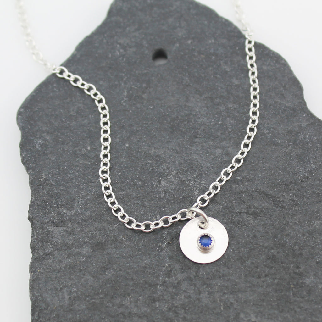 sterling silver birthstone anklet with sapphire semi precious stone handmade by Lucy Kemp Jewellery