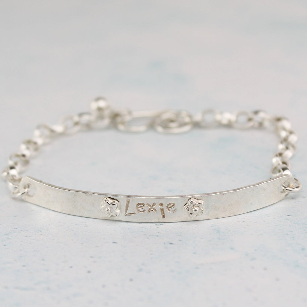 sterling silver christening children's personalised chain bracelet, handmade by Lucy Kemp Jewellery, Hayle, Cornwall