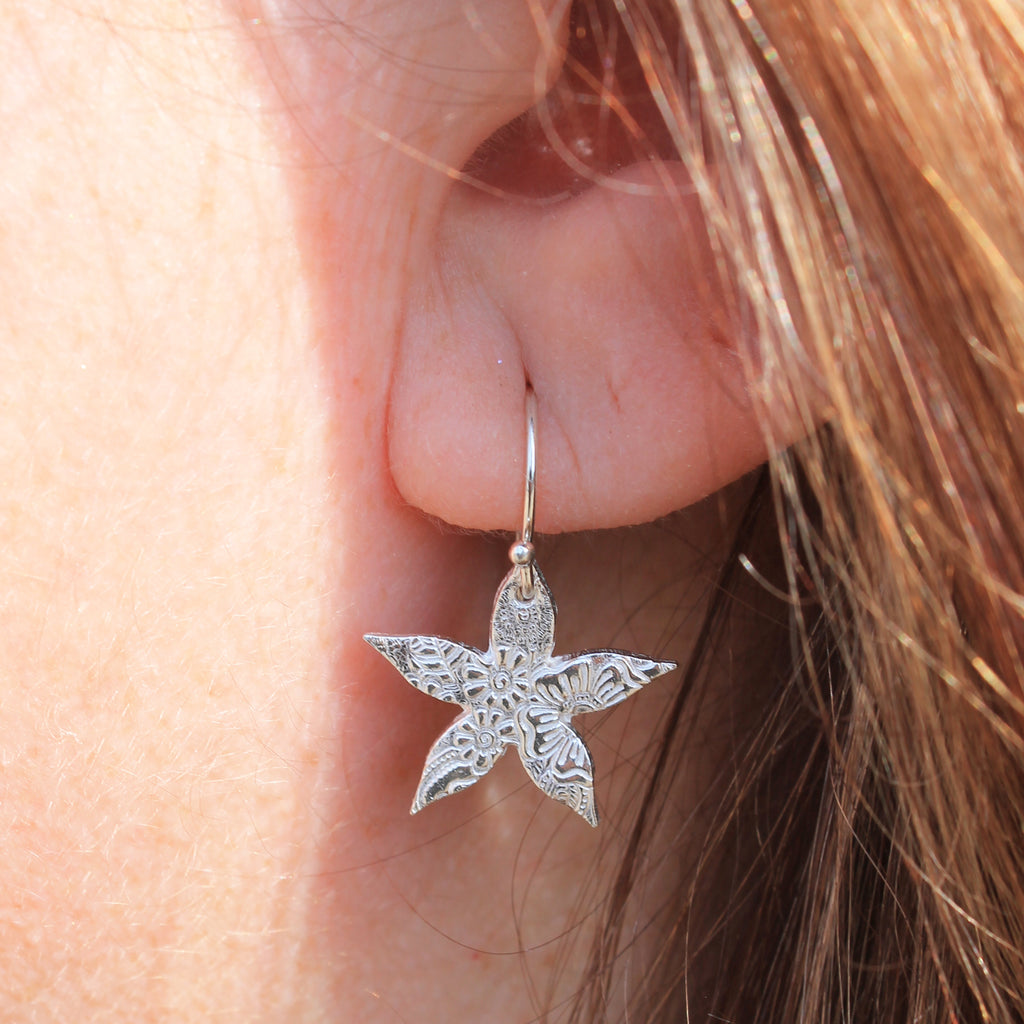 Sterling Silver Jasmine delicate textured earring handmade by Lucy Kemp Jewellery in Cornwall.