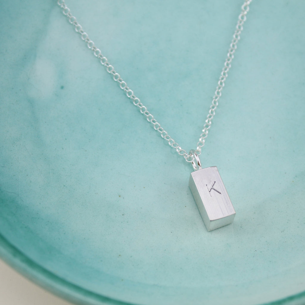 Personalised with initials or names handmade sterling silver solid large ingot handmade by Lucy Kemp Jewellery