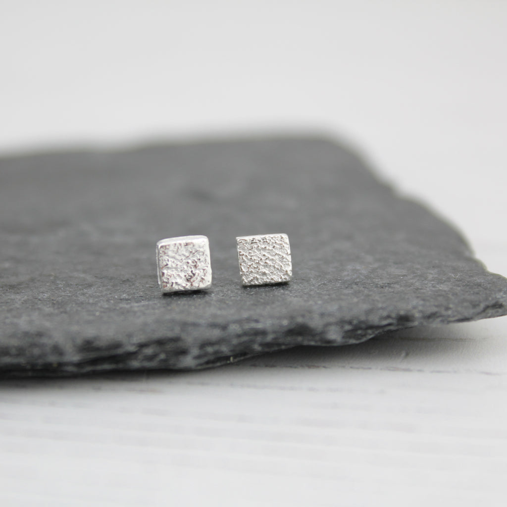 Sterling Silver Mini Square Studs