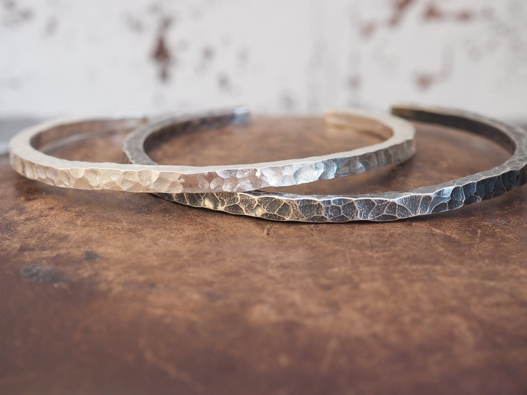 sterling silver chunky mens cuff handmade by Lucy Kemp Jewellery